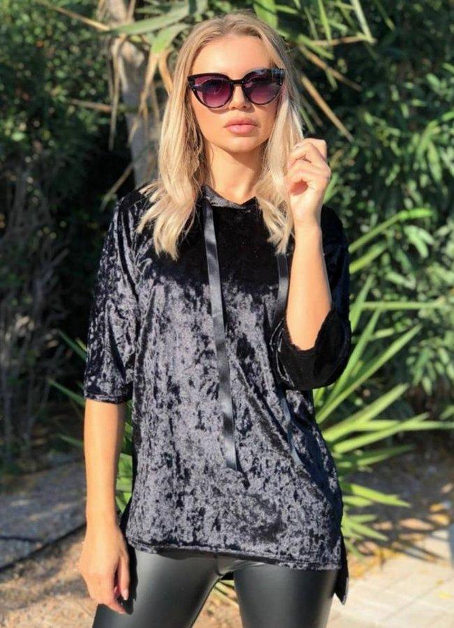 βελουτέ μπλούζα με κουκούλα - Μαύρο